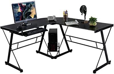 OneSpace Ultramodern Glass L-Shaped Gaming Desk